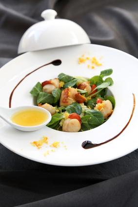 Saint-Jacques et salade d mâche