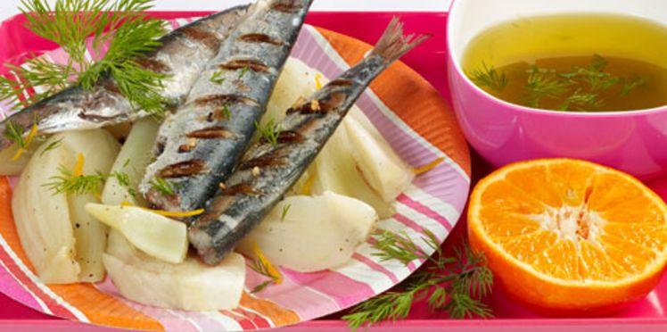 Sardines grillées au fenouil et au citron confit